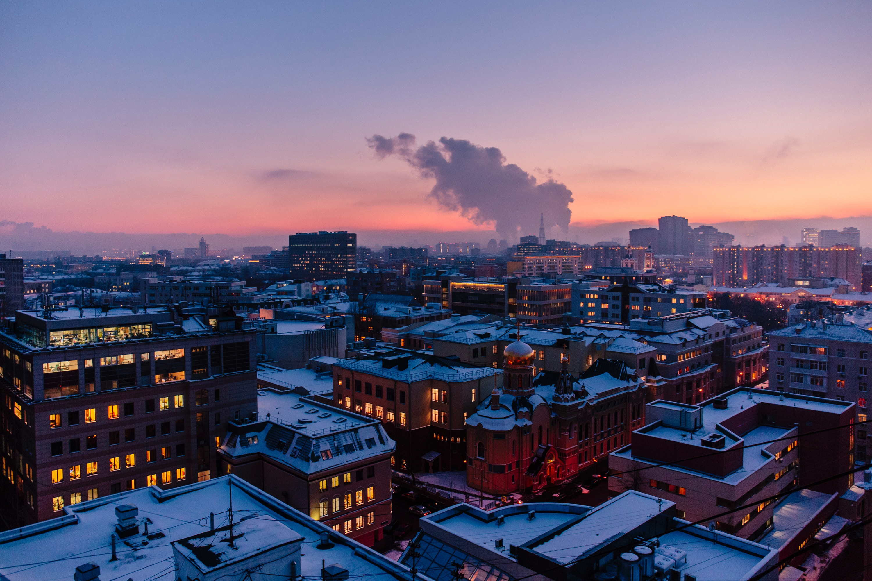 View over Moscow sunset and buildings
