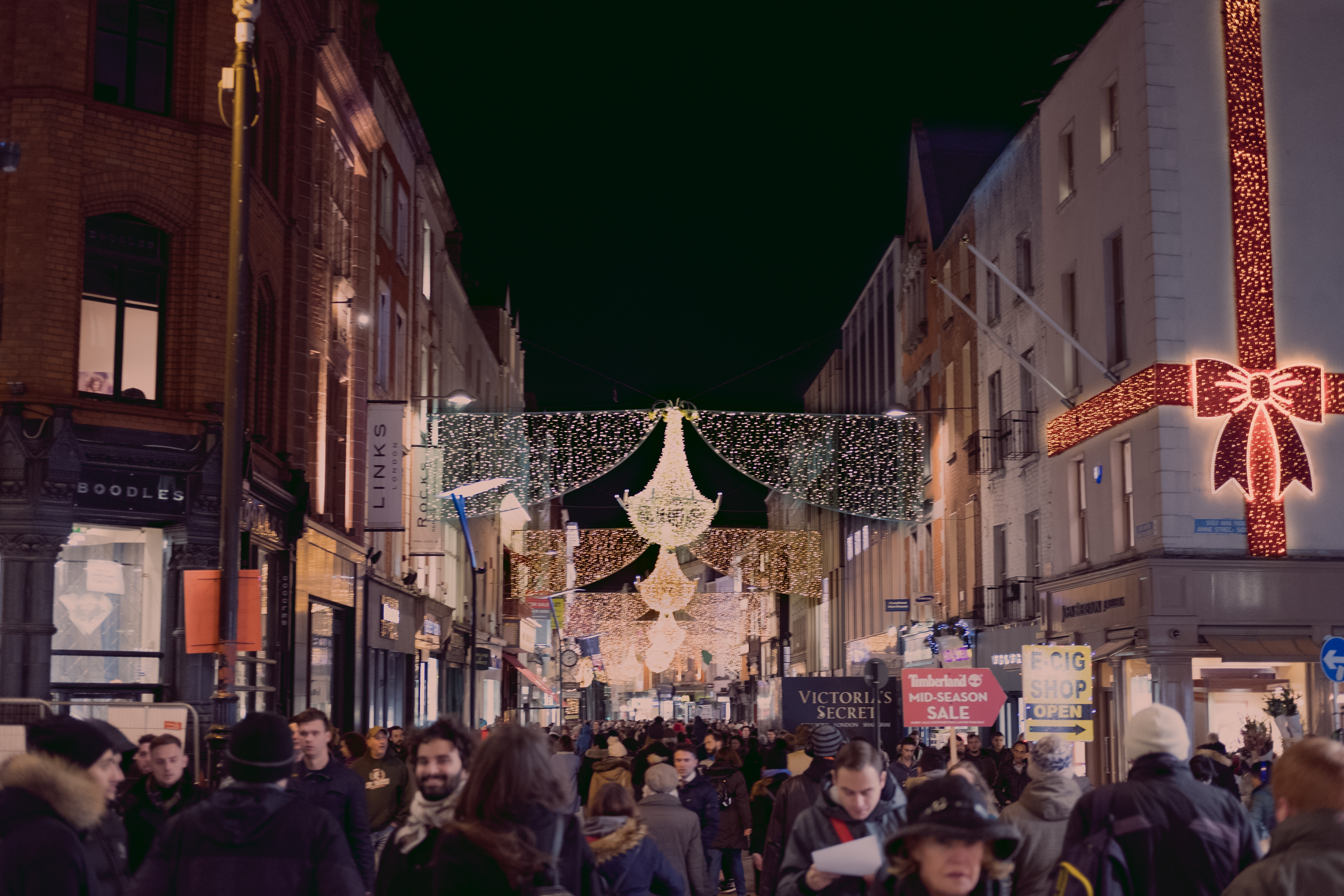 Grafton street with Christmas decorations at nighttime