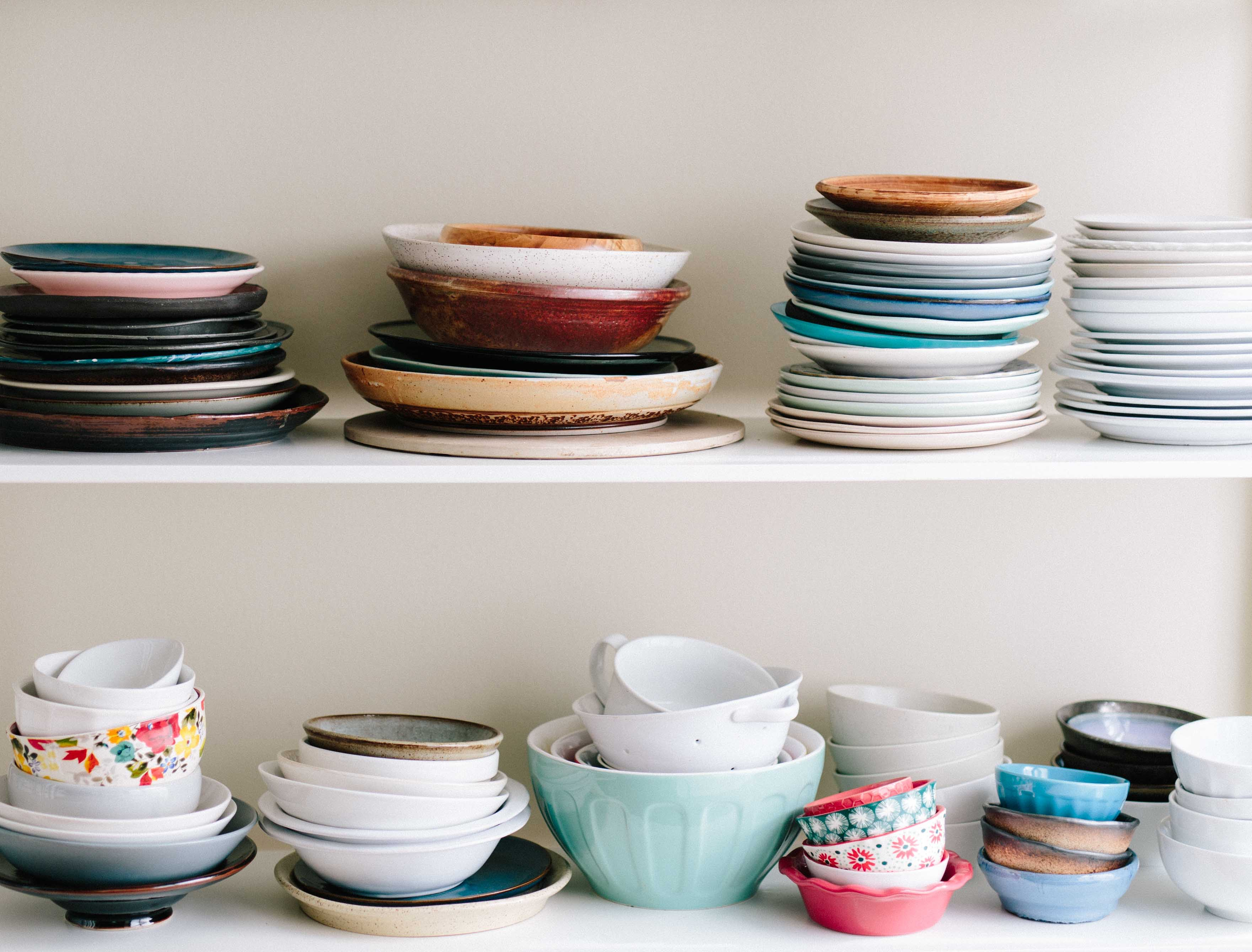 stacked porcelain plates
