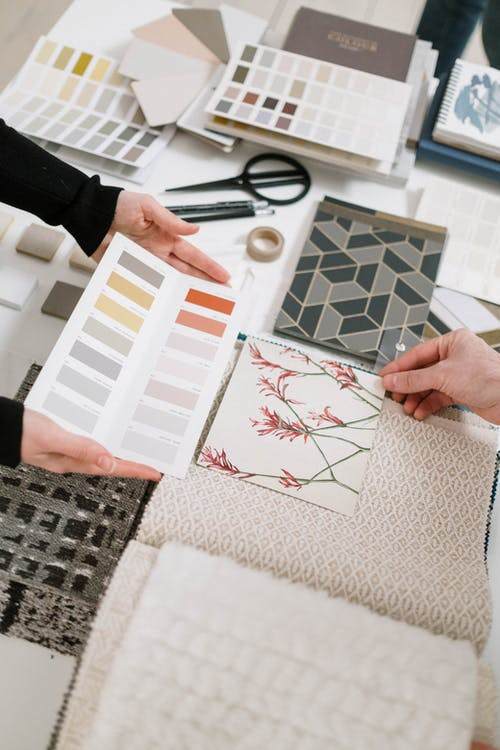 <alt text: Every design project begins with a plan that includes colour palettes, materials and textures.>
